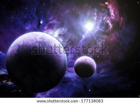 Planet and Nebula - Elements of this image furnished by NASA - stock photo