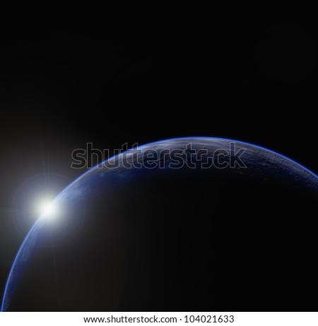 Planet and sunrise - stock photo