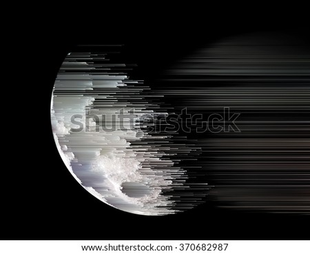 planet dissolves in space - stock photo