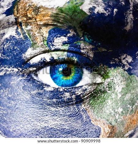 """Planet earth and human eye - """"Elements of this image furnished by NASA"""" - stock photo"""