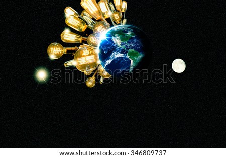 Planet earth and lightbulb for global power and energy concept, light bulb, Elements of image from NASA - stock photo