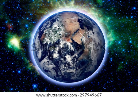 planet earth and star. Elements of this image furnished by NASA - stock photo
