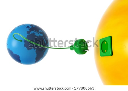 planet earth and sun connected by an electric wire - stock photo