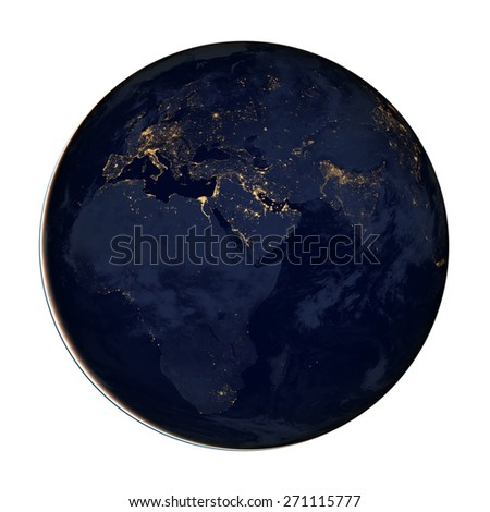 Planet Earth at Night - Super High Resolution Isolated (Map Provided by NASA) - stock photo