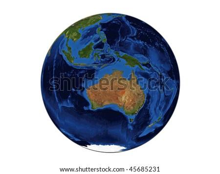 Planet Earth - Australia, data source: NASA - stock photo