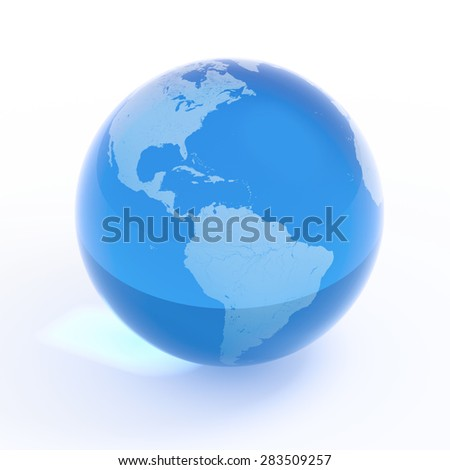 Planet Earth blue water globe isolated with clipping path on white - stock photo