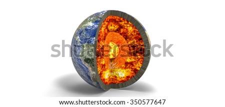 Planet earth core  / Earth core 3d - stock photo