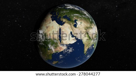 Planet Earth 3D Globe - Mediterranean - Elements of this image furnished by NASA - stock photo