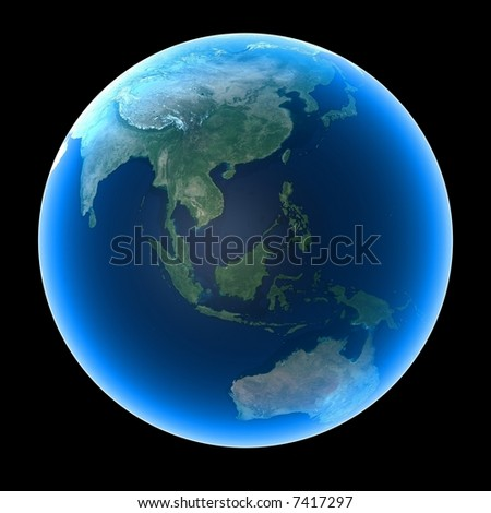 Planet Earth featuring Asia and Oceania - stock photo