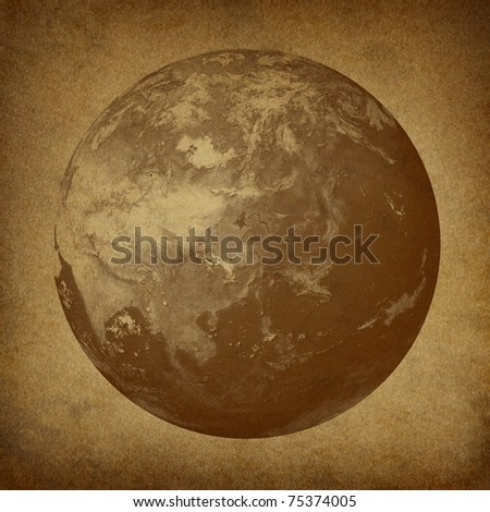 Planet Earth featuring Asia featured countries including Japan China Korea on a grunge old parchment paper texture. - stock photo