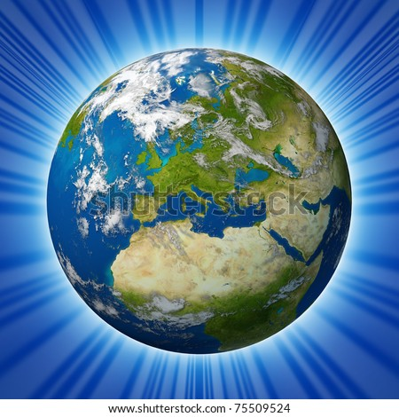 Planet Earth featuring Europe and European union countries including France Germany Italy and England surrounded by blue ocean and clouds isolated on radial background. - stock photo
