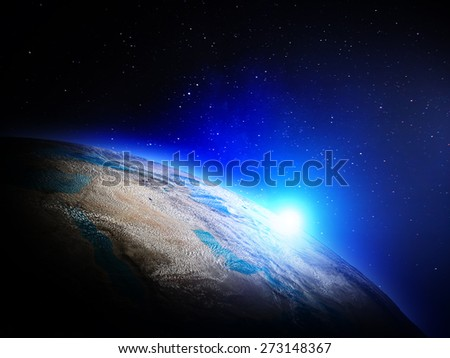 Planet Earth from space. Elements of this image furnished by NASA - stock photo