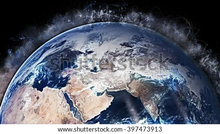 Planet Earth Globe Artwork - Mediterranean Middle East (Elements of this image furnished by NASA) - stock photo