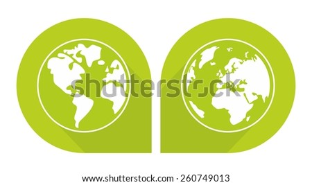Planet Earth green sign isolated on white background - stock photo