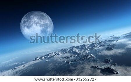 Planet Earth icy ocean and rocky islands with moon seen from space (Texture moonmap for 3d art from NASA) - stock photo
