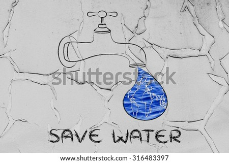 planet earth in a droplet from the tap (with ocean fill), illustration about saving water - stock photo