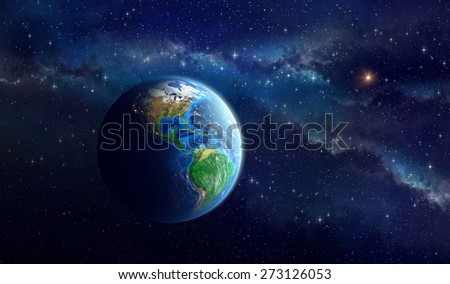 Planet Earth in deep space. Detailed view of American continent. Elements of this image furnished by NASA - stock photo