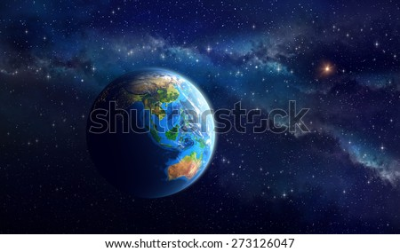 Planet Earth in deep space. Detailed view of Asian and Australian continent. Elements of this image furnished by NASA - stock photo
