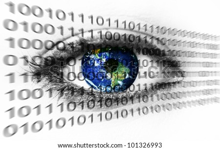Planet earth in eye with binary numbers - (Elements of this image furnished by NASA) - stock photo
