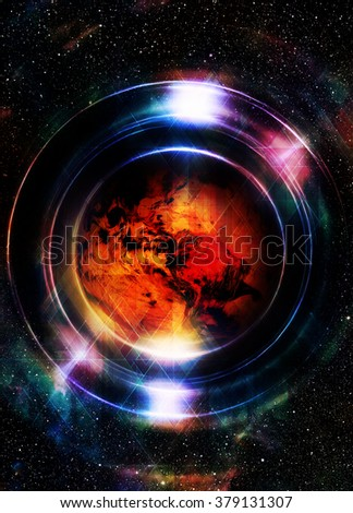 Planet earth in light circle with light triangle structure. Cosmic Space background. Computer collage. Earth concept. Elements of this image furnished by NASA - stock photo