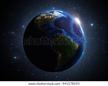 Planet Earth in outer space 3d illustration - stock photo
