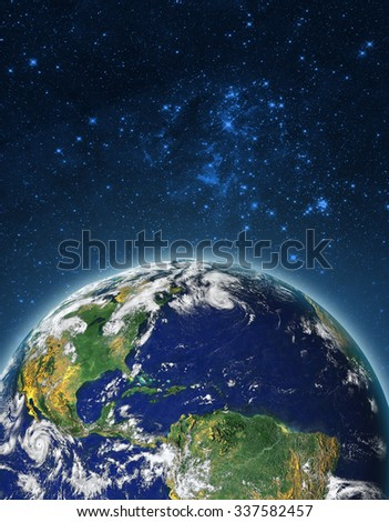 Planet Earth in outer space. Imaginary view of blue glowing earth orbit in a star field. Abstract cosmos in dark galaxy scientific astronomy background. Elements of this image furnished by NASA. - stock photo