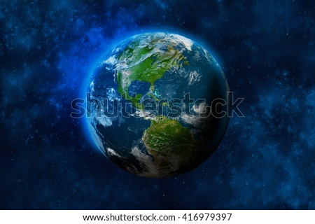 Planet Earth in space. North and South America. Elements of this image furnished by NASA. 3D rendering of planet Earth. - stock photo