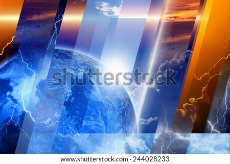 Planet Earth in variety weather conditions, bright sun and blue sky; dark stormy sky with lightnings; sunset and sunrise. Elements of this image furnished by NASA nasa - stock photo