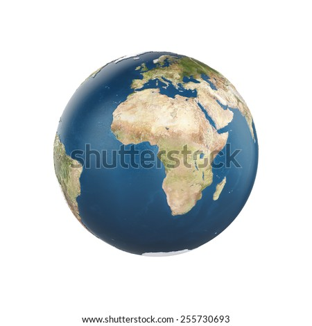 Planet earth isolated on white background - Europe with Africa view. Elements of this image furnished by NASA - stock photo