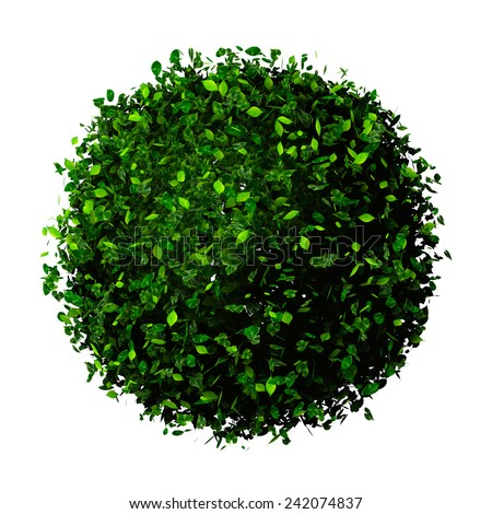 Planet earth made of leaves. Eco globe. Ball of green leaves isolated on white. - stock photo