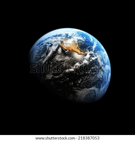 Planet earth on a black background.Elements of this image are furnished by NASA - stock photo