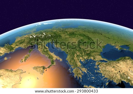 Planet Earth on background with stars; Earth from space showing Southern Europe, Mediterranean sea, Italy, Greece on globe in the day time, with enhanced bump; elements of this image furnished by NASA - stock photo