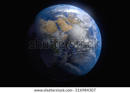 Planet Earth on Black Background. Africa View. Elements of this image furnished by NASA  - stock photo