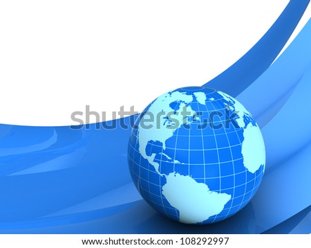 Planet earth on blue curves over white background - stock photo