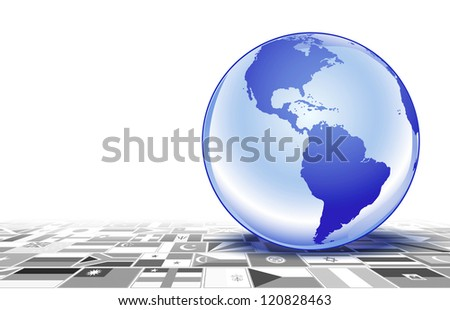Planet Earth on flags in perspective - stock photo