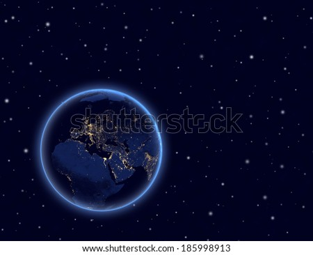 Planet earth on night sky. Europe, Africa and Asia. Elements of this image furnished by NASA. - stock photo