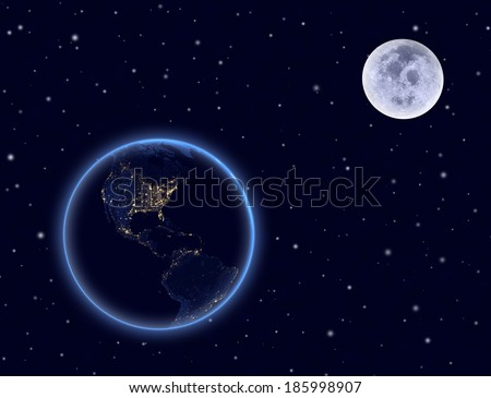 Planet earth on night sky. North and South America. Elements of this image furnished by NASA. - stock photo