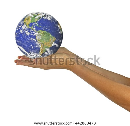 Planet earth on palm.Elements of this image furnished by NASA - stock photo