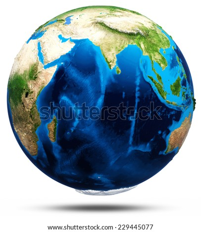 Planet Earth real relief, modified maps, lighting and materials. Earth globe model, maps courtesy of NASA - stock photo