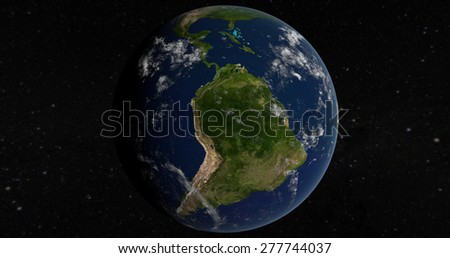 Planet Earth South America 3D Globe - Elements of this image furnished by NASA - stock photo