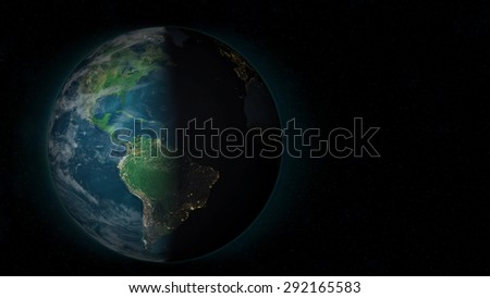 Planet Earth - South America Sunset (Elements of this image furnished by NASA) - stock photo