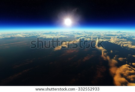 Planet Earth sunrise over cloudy ocean from outer space (3d artwork) - stock photo