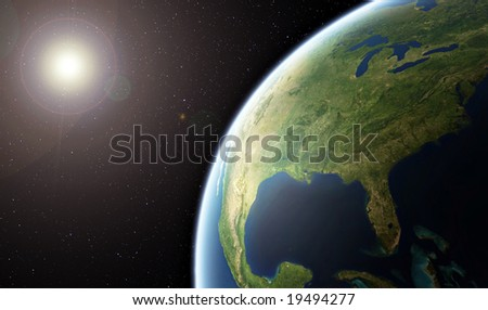 Planet Earth - United States of America from Space -  ( Background is full with stars ) - stock photo