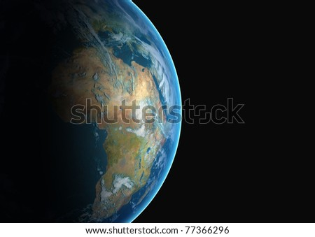 Planet earth viewed from space and cropped to reveal the continent of Africa. - stock photo
