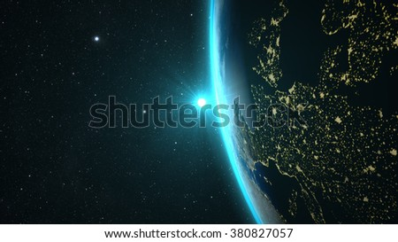 Planet Earth with a spectacular sunset, view on Europe and Africa. Elements of this image furnished by NASA - stock photo
