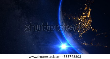 Planet Earth with a spectacular sunset, view on USA and Canada, with milkyway in background. Elements of this image furnished by NASA - stock photo