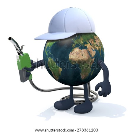 planet earth with arms, legs and fuel pump on hand, 3d illustration. Elements of this image furnished by NASA - stock photo