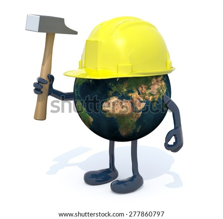 planet earth with arms, legs, work helmet and hammer on hand, 3d illustration. Elements of this image furnished by NASA. - stock photo