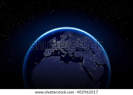 Planet earth with city lights - Europe Africa and middle east Elements of this image furnished by NASA - stock photo