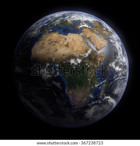 Planet Earth with Clouds and Atmosphere. Africa View. Digitally generated model of Planet Earth. 3D render based on  reference images of NASA. Elements of this image furnished by NASA - stock photo